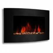 XtremepowerUS 35 WALL MOUNT CURE ELECTRIC FIREPLACE WITH 1500 watt HEATER BLACK GLASS
