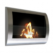 Brushed Stainless Steel Wall Mount Indoor Safe Eco Friendly Fireplace Chelsea