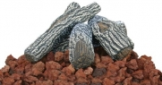 Lava Rocks And Log Kit for Outdoor Fire Pits (Red/Brown) (2.4H x 18.5W x 17.7D)