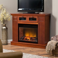 Estate Design Kent Convertible LED Electric Fireplace Media Center, Wood