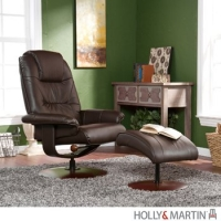 Holly & Martin Parrish Leather Recliner and Ottoman-Brown