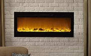 Touchstone Sideline Recessed Electric Fireplace with heater - Black