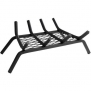 18 Wood Grate with 1/2 Steel Bars, 4 Bars with Ember Retainer, Black
