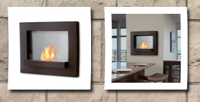 Real Flame edgerton wall fireplace, rust brown